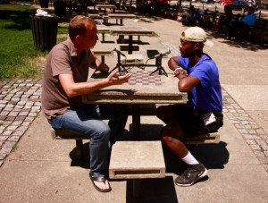 Dan Kerr interviewing Eric Sheptock for the DC Employment Justice Research Project in DuPont Circle in Washington, DC.